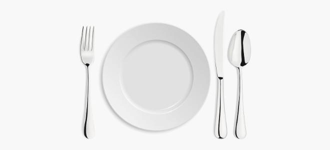 Тарелка со столовыми приборами